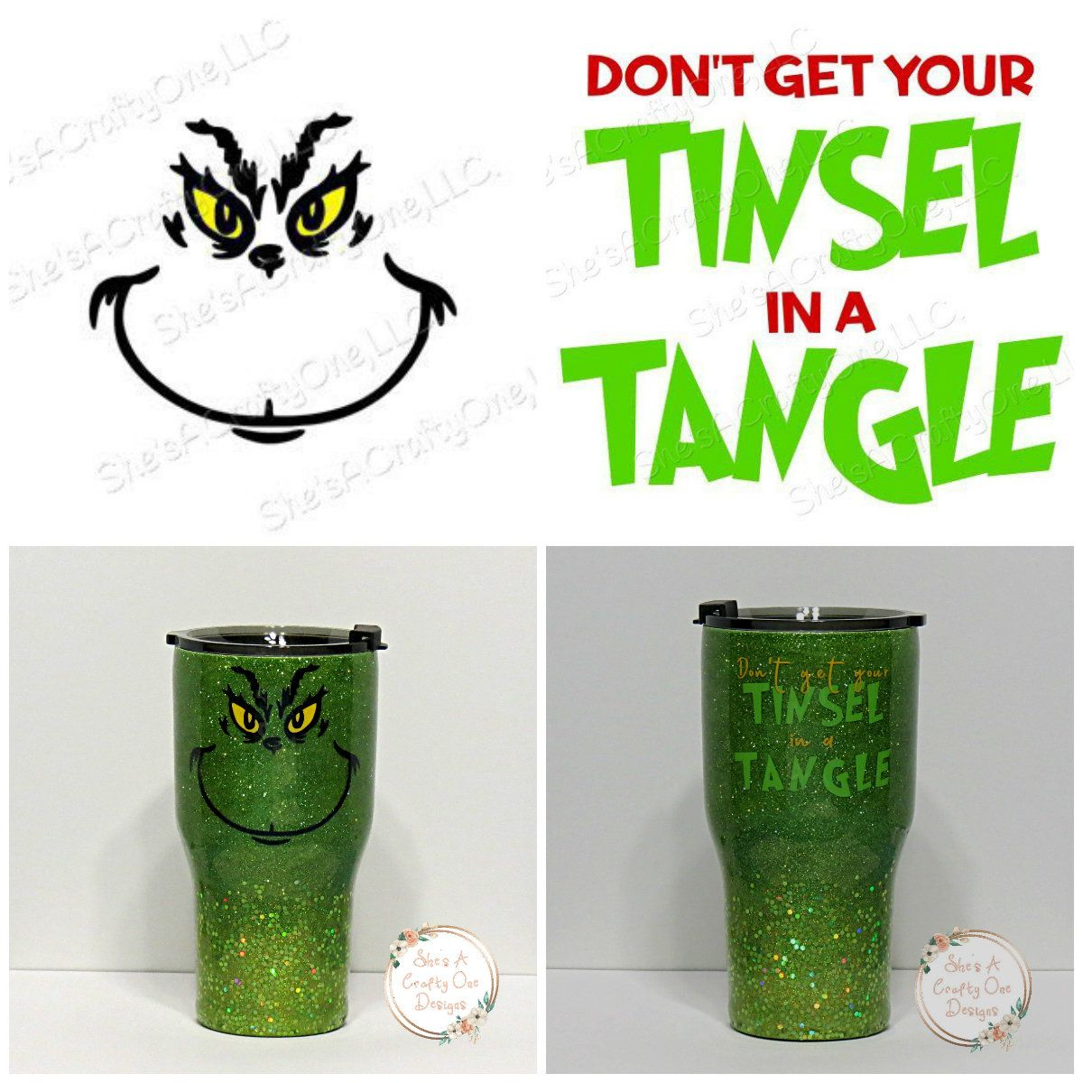 The Grinch & Dont Get Your Tinsel in a Tangle SVG by