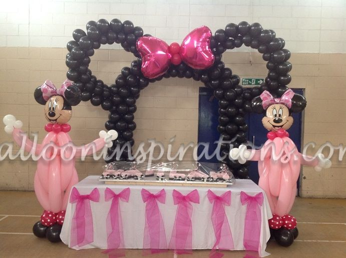 Minnie Mouse themed birthday party balloon decorations for a childs