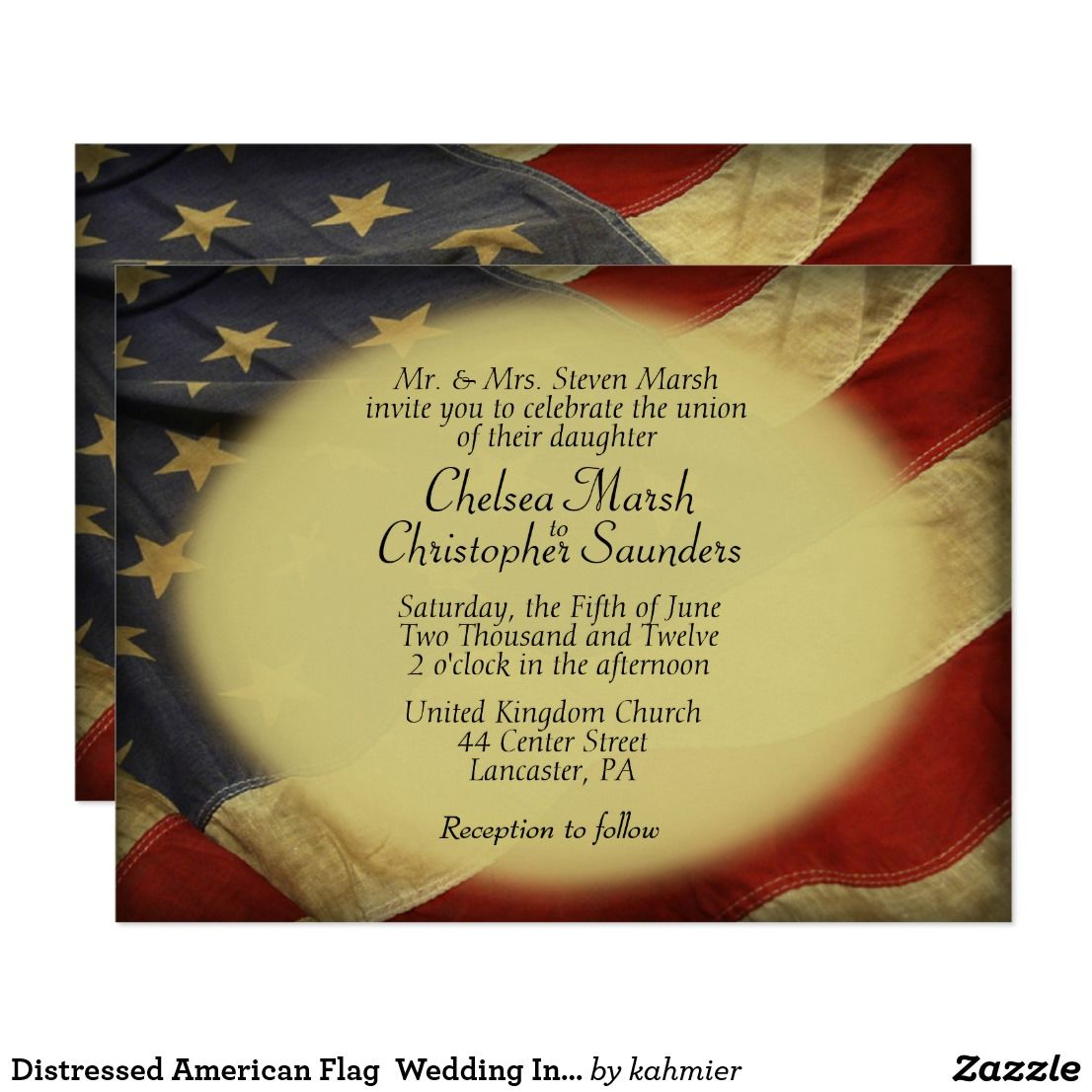 Distressed american flag wedding invitation in military