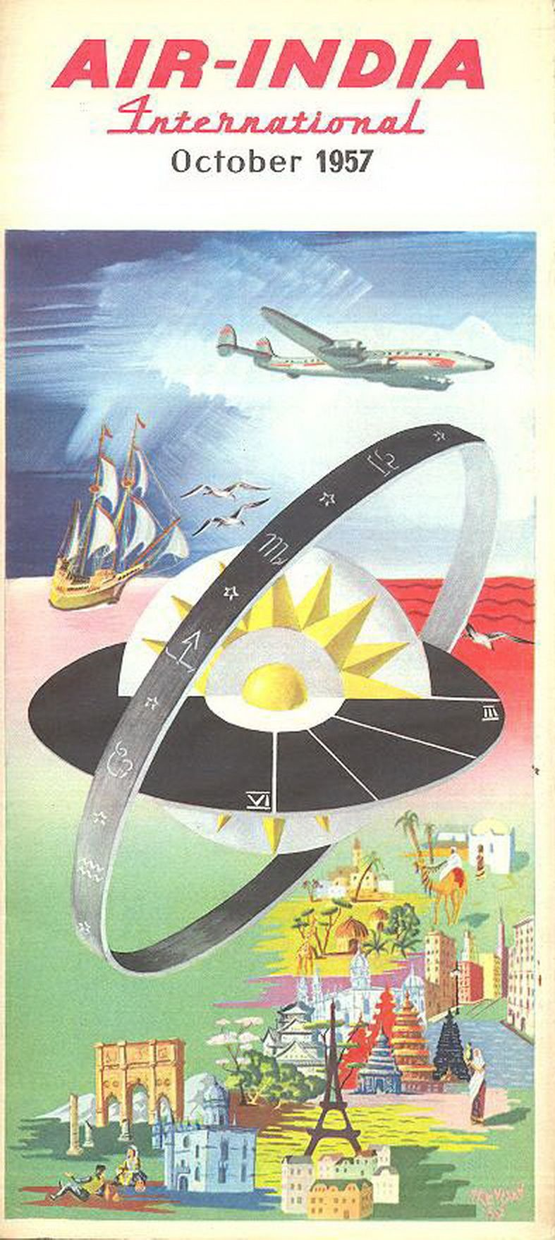Air India 1957 Timetable Vintage airline posters