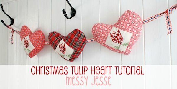 MessyJesse: Christmas Heart Tutorial, Patchwork Tulips