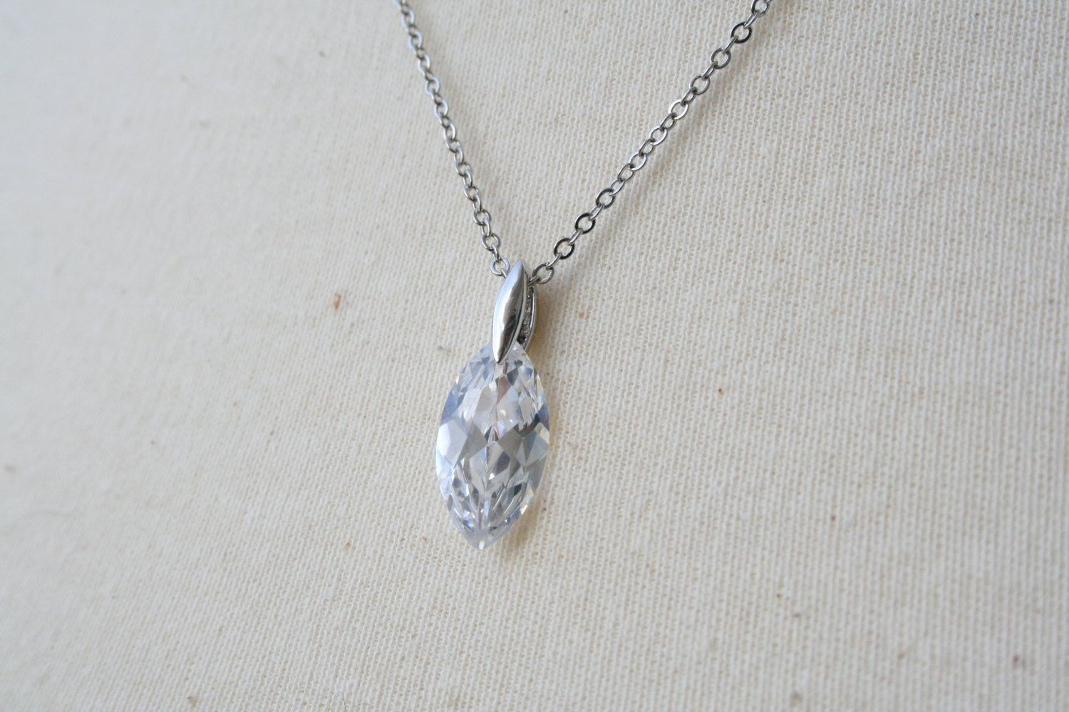 Teardrop Cubic Zirconia Necklace - Crystal. $23.00, via Etsy.