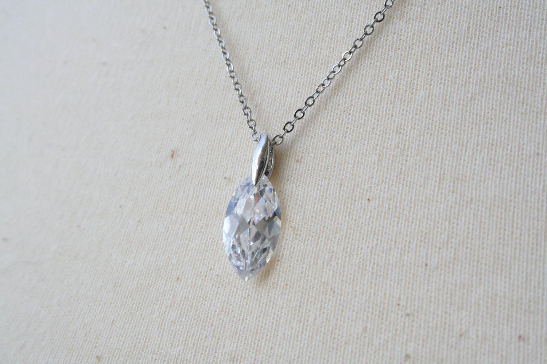 Teardrop Cubic Zirconia Necklace - Crystal. $23.00, via Etsy.