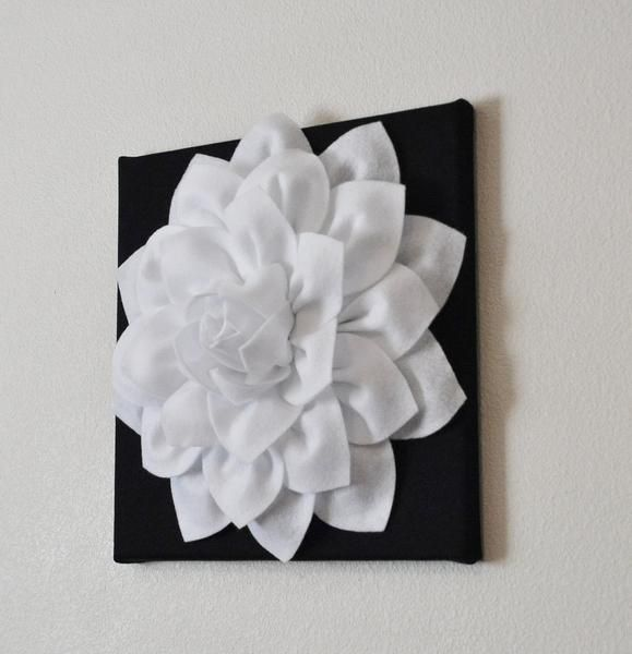 Two Flower Wall Hangings White Dahlia On Black 12 X12 Hanging Flower Wall Flower Wall Purple Canvas Art