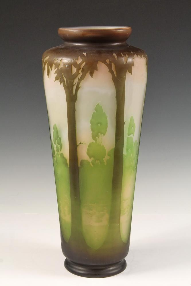 Monumental Galle Vase French Art Glass Long Stem Vase Having A