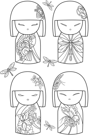 Kimmi Dolls Coloring Page In 2020 Japanese Quilts Coloring Pages Japanese Dolls