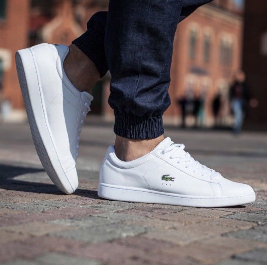 17550774f3f3 Lacoste Men s White Carnaby EVO Leather Trainers Brand New Boxed free  delivery  Lacoste  Trainers