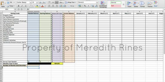 Sinking Funds Excel Budget Planner Budget Printable Budget Binder - property expenses spreadsheet