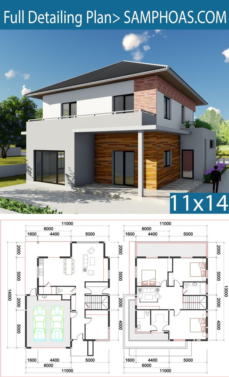3 Bedroom Villa Design 11x13m Samphoas Plan Villa Design House Architecture Design Small House Design