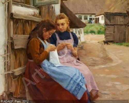 BRENDEKILDE Hans Andersen,To piger med håndarbejde i hænderne siddende på en gårdsplafs