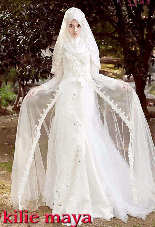Robe pour mariage blanche | hijab sortie | Pinterest