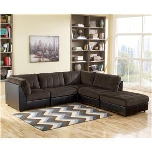 Signature Design By Ashley Hobokin   Chocolate Contemporary 5 Piece  Sectional With RAF Ottoman   Turk