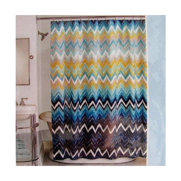 Peri Shower Curtain Fabric Hedges Chevron Royal Blue Navy White ...