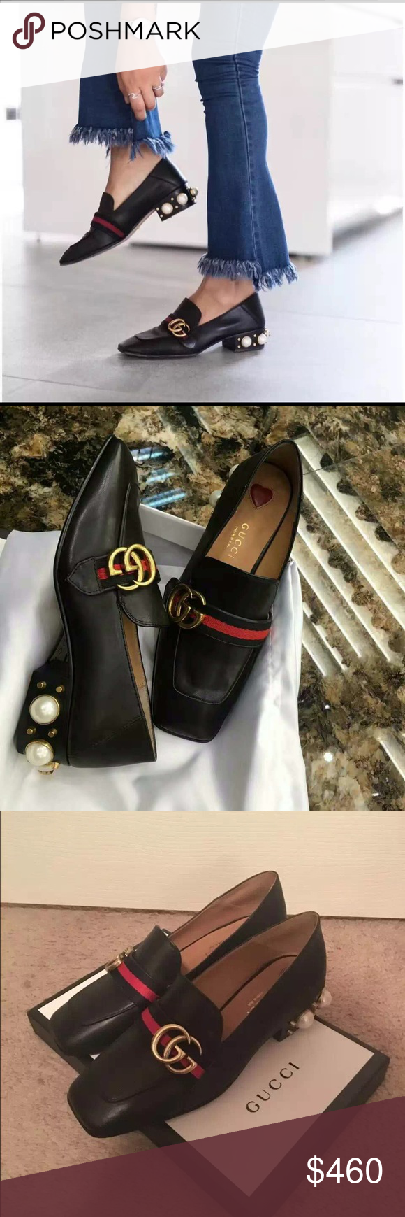 gucci leather mid-heel loafer Mid-heel loafer with pearl. Perfect heel for elongate your legs. Classic, and fashionable. Don't miss it. Gucci Shoes Flats & Loafers