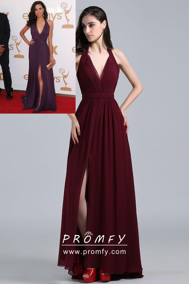 80642d40f7 Elegant Maroon Chiffon Halter V-neck Celebrity Military Ball Dress ...