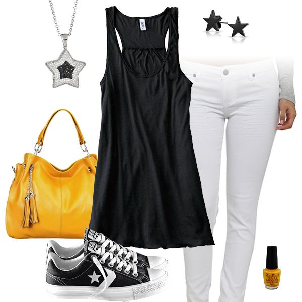 Cute Black Tank Top & White Jeans Outfit with Converse All Stars