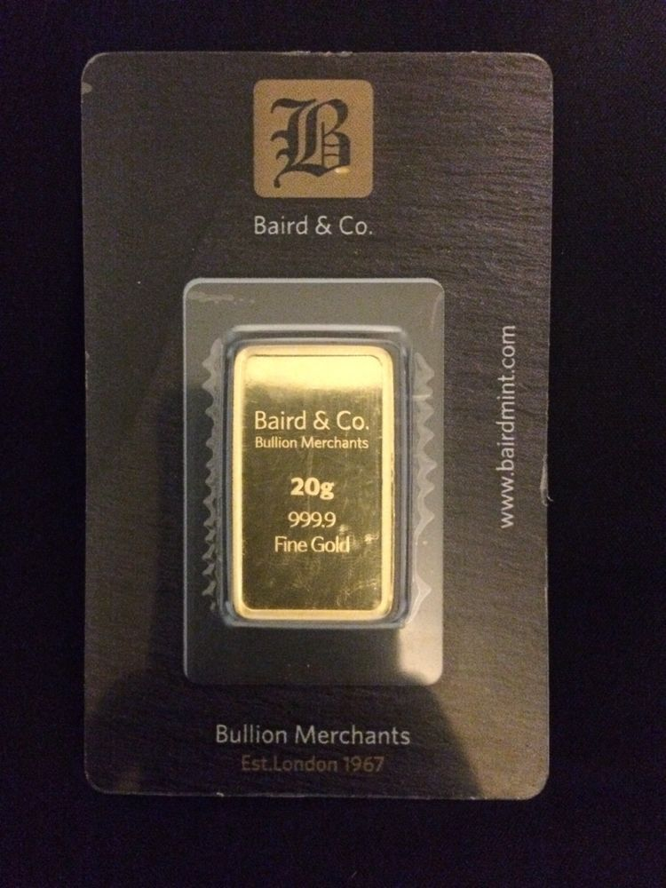 Baird 20 Gram Gold Bullion Bar Sealed 999 9 Purity Fine Genuine