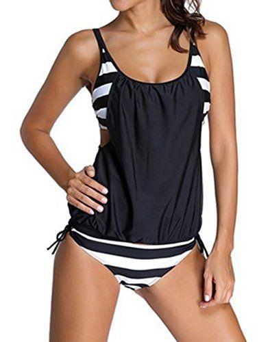 SUNNOW Damen Bikini Set Streifen zweiteilig Schwimmanzug Tankini Bademode  Strand Bikini Oberteile + Höschen (EU