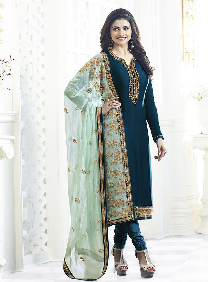 6b34418bc1 Prachi Desai Teal Georgette Churidar Salwar Suit 91382 #PunjabiLadiesSuits