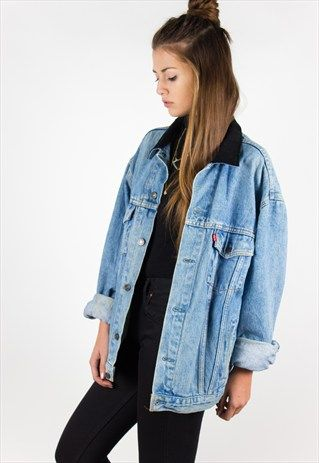 55275a07679 VINTAGE 80S LEVIS DENIM JACKET (REAL LEATHER COLLAR) RNEGRA