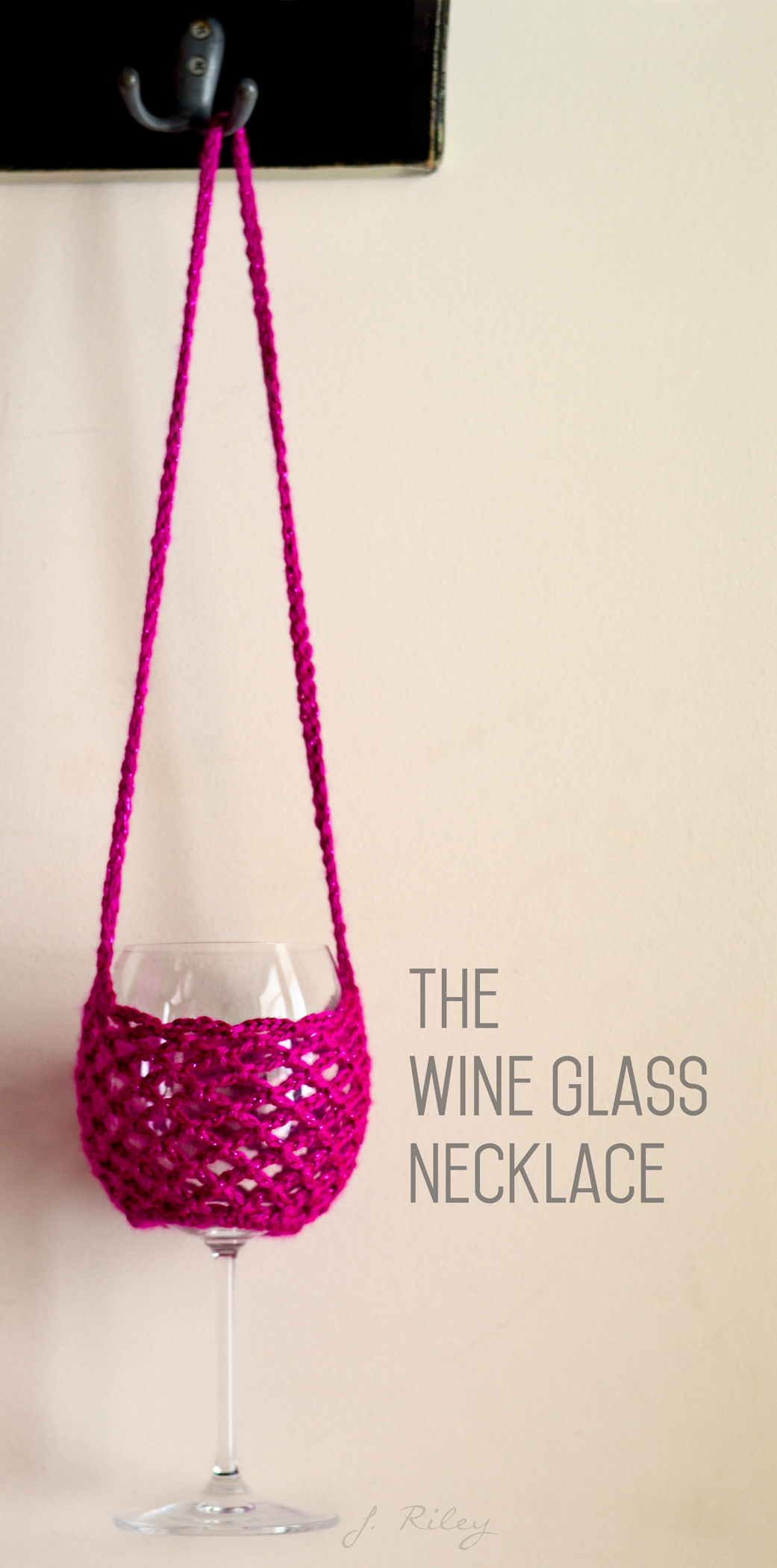 Wine Glass Necklace - Adapted from FREE pattern found here: http ...