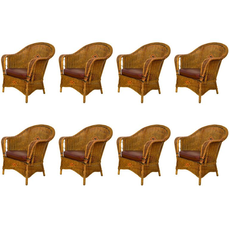 Antique Deco Wicker Chairs - Three available | From a unique collection of antique and modern armchairs at http://www.1stdibs.com/furniture/seating/armchairs/
