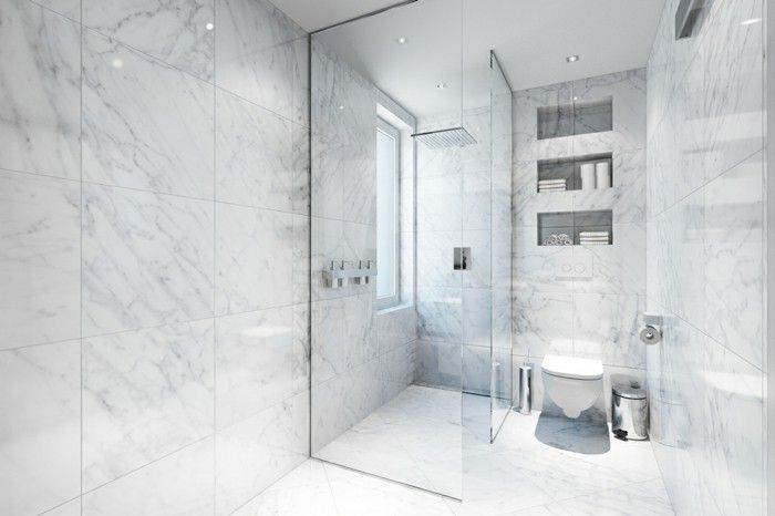 Le carrelage en marbre en 42 photos penthouses house and bath - Revetement mural salle de bain leroy merlin ...