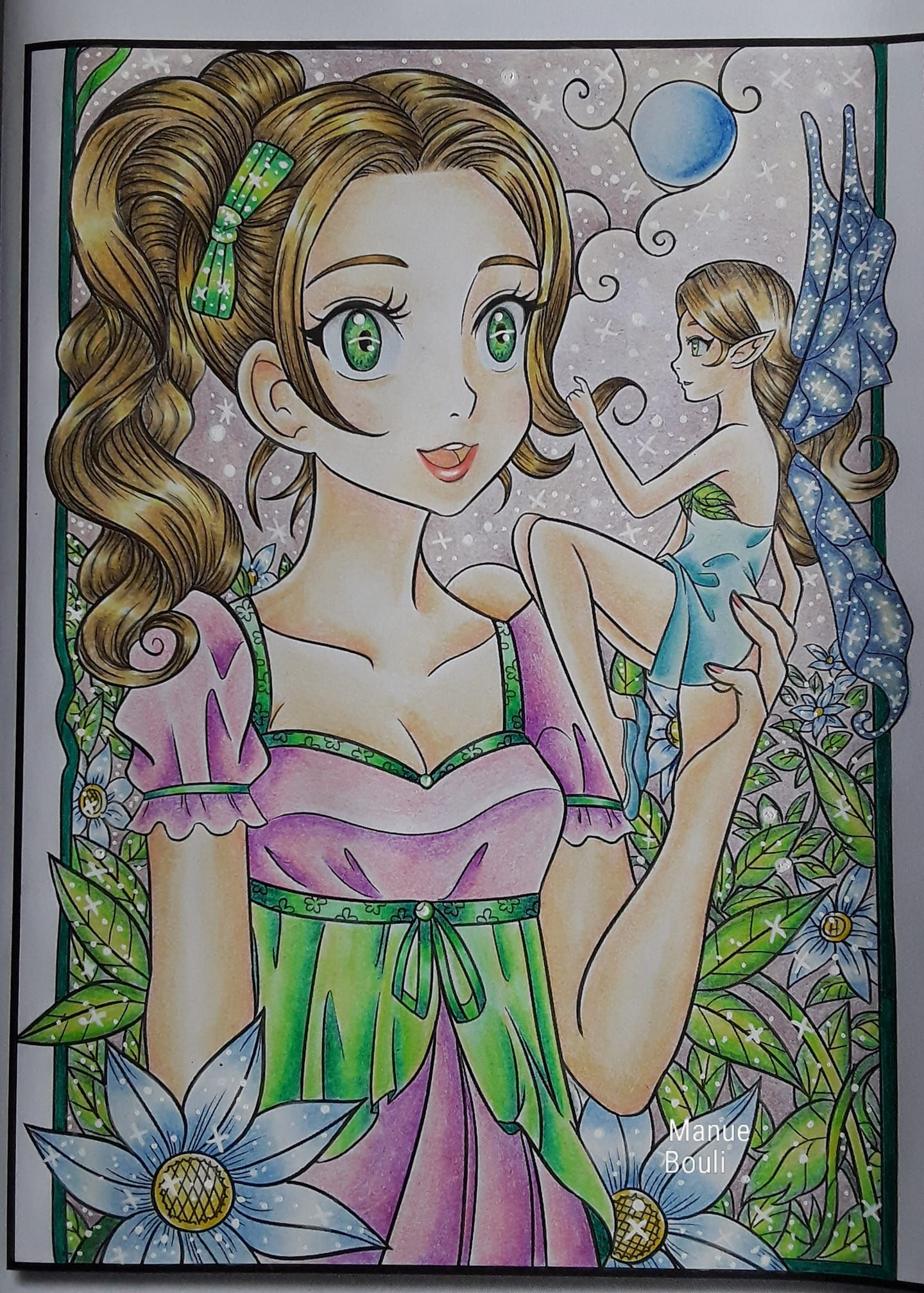 COLORING PAGE OF THE DAY Kawaii Girls By Jade Summer Colored Manue Bouli Download 50