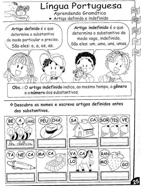 Pin De Valdirene Silva Em Atividades Escolares Artigo Definido