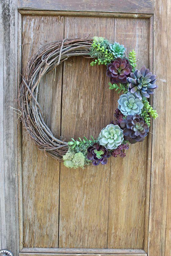 Photo of Succulent Wreath, Summer Wreath, Purple Succulents, Succulent Decor, Purple Wreath, Natural Wreath, Faux Succulent Wreath, Rustic Wreath