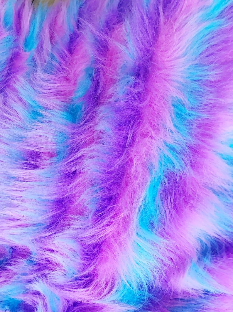 READY TO SHIP Tricolor Blue Pink Purple striped Faux Fur | Etsy