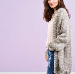 Long Super Chunky Cardigan | Free Knitting Patterns | Let's Knit Magazine