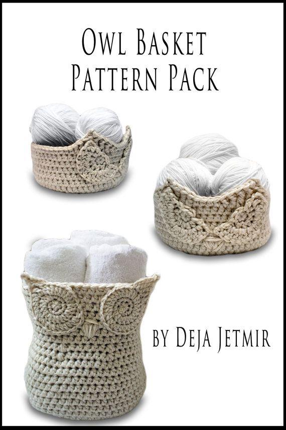 Crochet Pattern-- Owl Baskets Pattern Pack --Crochet Pattern ...