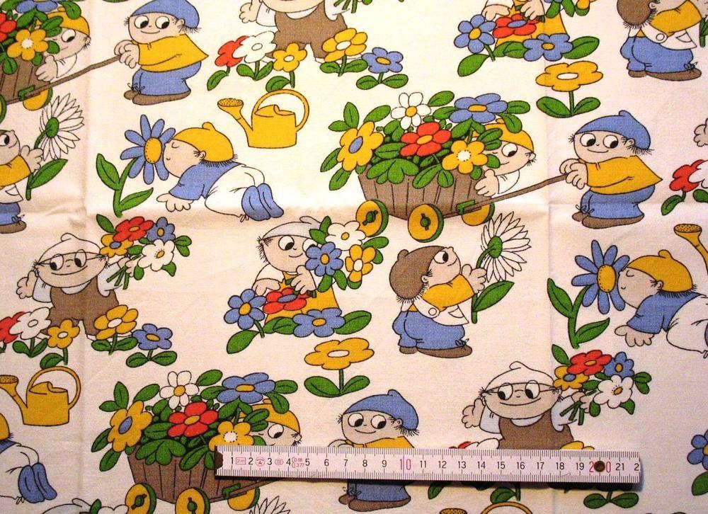 70 Er Vintage Mainzelmännchen Kinder Bettwäsche Stoff 70s Fabric