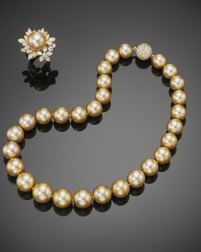 5a67ac3ec1431 Golden South Sea Natural Color Cultured Pearl Necklace and Ring in ...