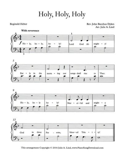 Holy Holy Holy Free Easy Hymn Arrangements At Piano Song