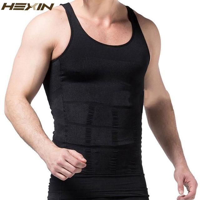 Mens Slimming Compression Firm Control Body Shaper Chest Tummy Tucker Shirt Vest