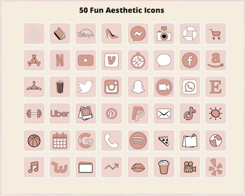 iOS 14 Pink Aesthetic App Icons for iPhone Home Sc