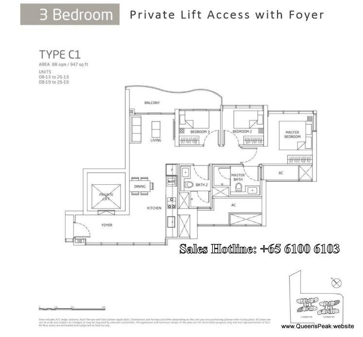 Queens Peak Floor Plan 3 Bedroom C1 Floor Plans 3 Bedroom Floor Plan Tower Block