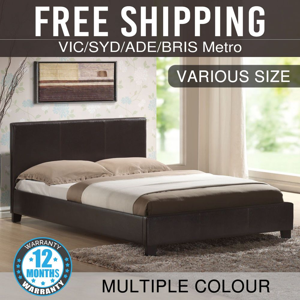New King Queen Double Single Size Pu Leather Bed Frame Black Brown