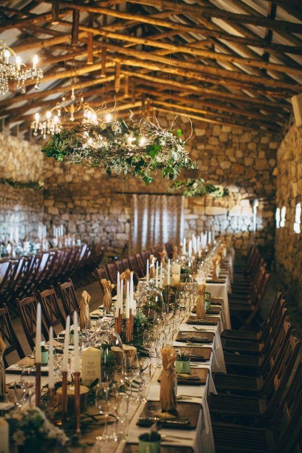 40 stunning woodland forest wedding reception ideas for Indoor wedding reception decorations