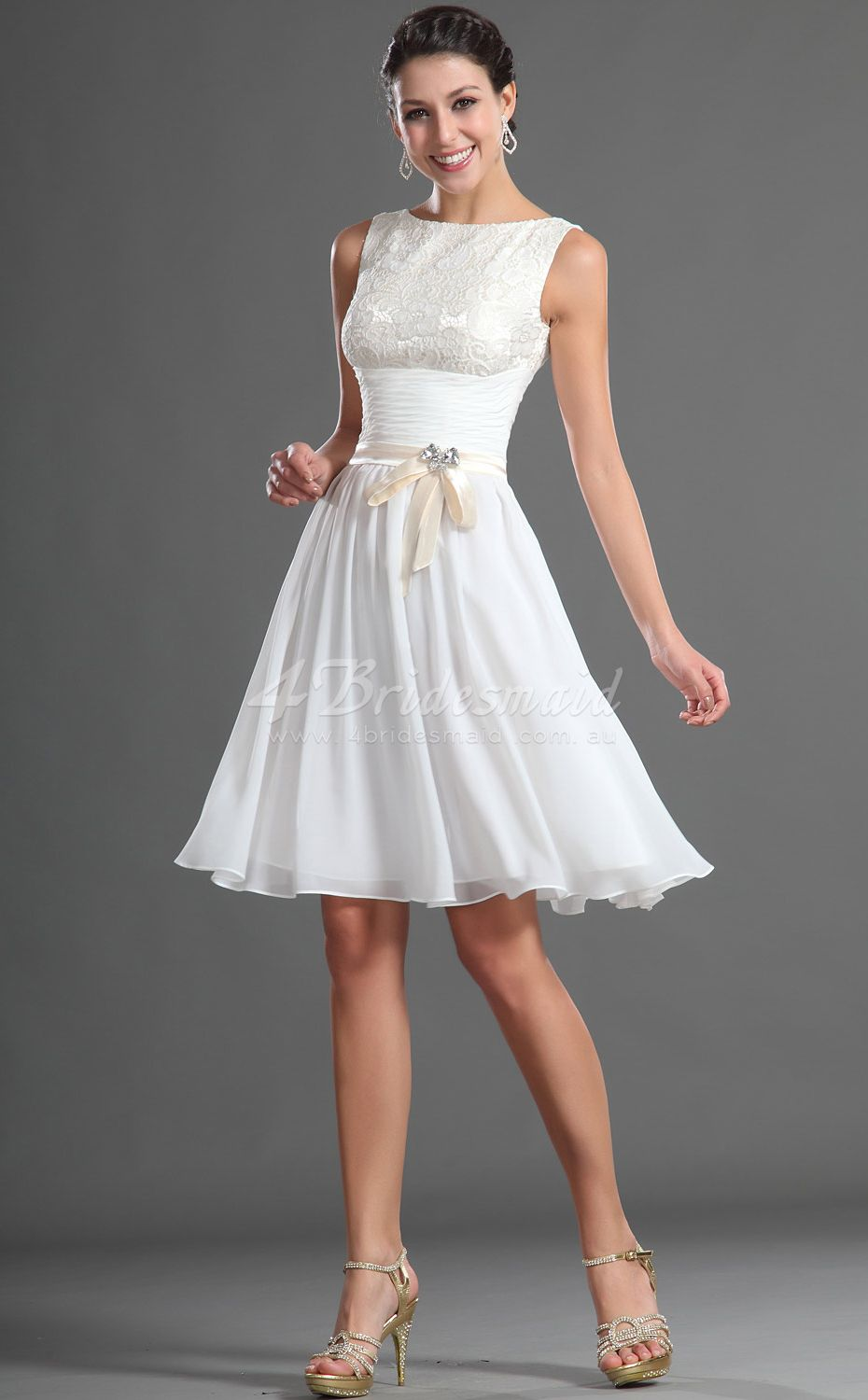 Mini white wedding dress  Aline Jewel ShortMini White Chiffon Bridesmaid DressesBD