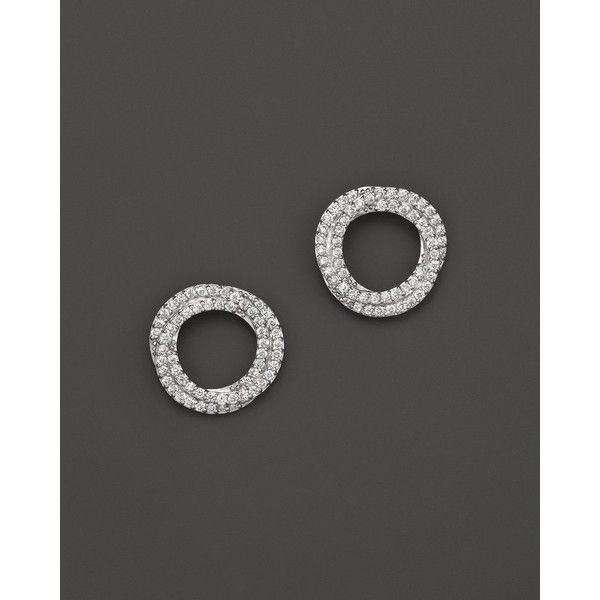 Diamond Circle Stud Earrings in 14K White Gold, .45 ct. t.w. ($1,000) ❤ liked on Polyvore featuring jewelry, earrings, white, womens jewellery, diamond earrings, circle earrings, 14k white gold earrings and white gold earrings