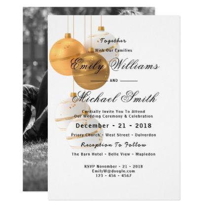 gold christmas winter photo wedding invitation gold wedding