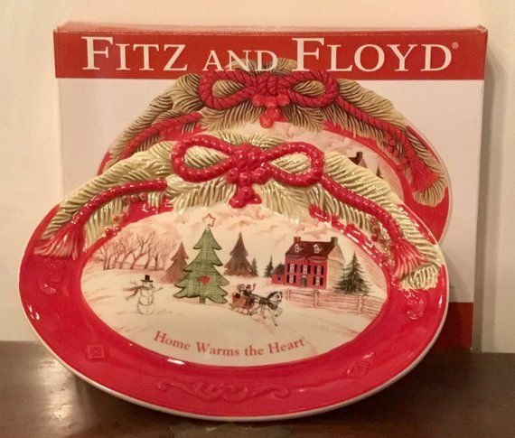 Ceramic Fitz and Floyd Holiday Sentiment Tray Reads \