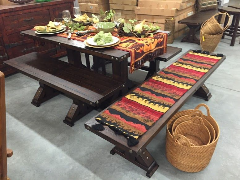 Picnic Style Dining Room Table This Solid Pine Wood Trestle