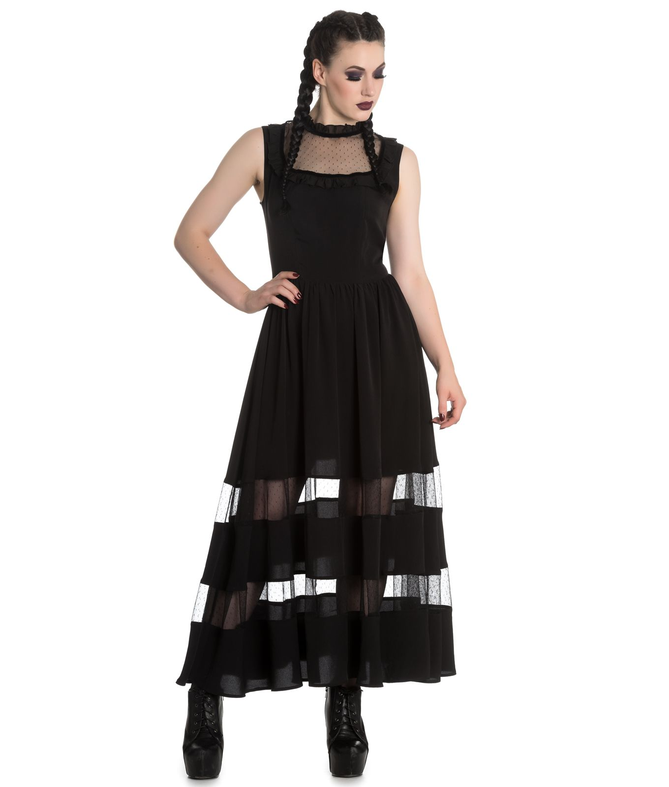 Spin Doctor Bellatrix Maxi Long Alternative Gothic Dress Black
