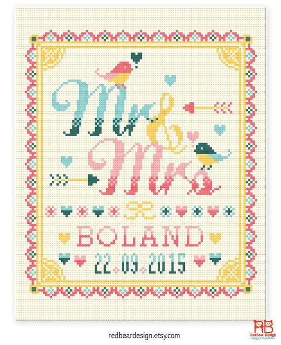 Wedding cross stitch pattern  Mr and Mrs with by redbeardesign