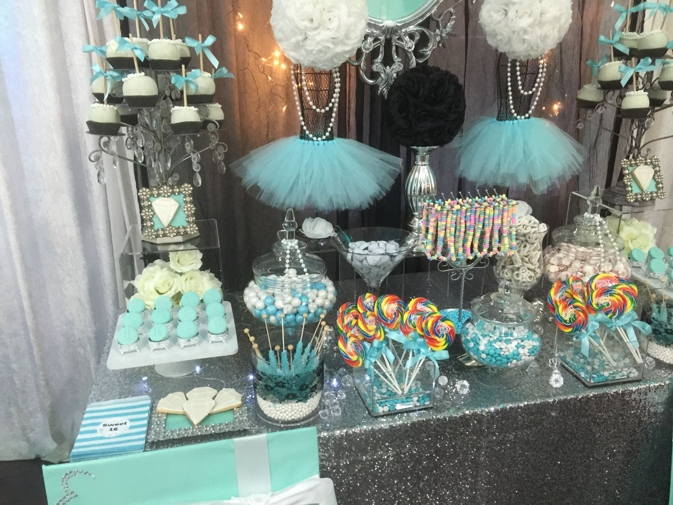 Turquoise White And Black With Silver Accents Candy Buffet With Silver Dusted White Ganache Macaroons And W Sweet 16 Candy Buffet Sweet 16 Candy Candy Buffet