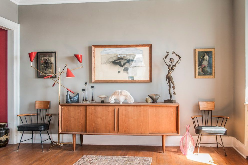 Attrayant Painted Credenza Ideas Living Room Eclectic With Art Collection Arm Chairs  Wood Cabinet